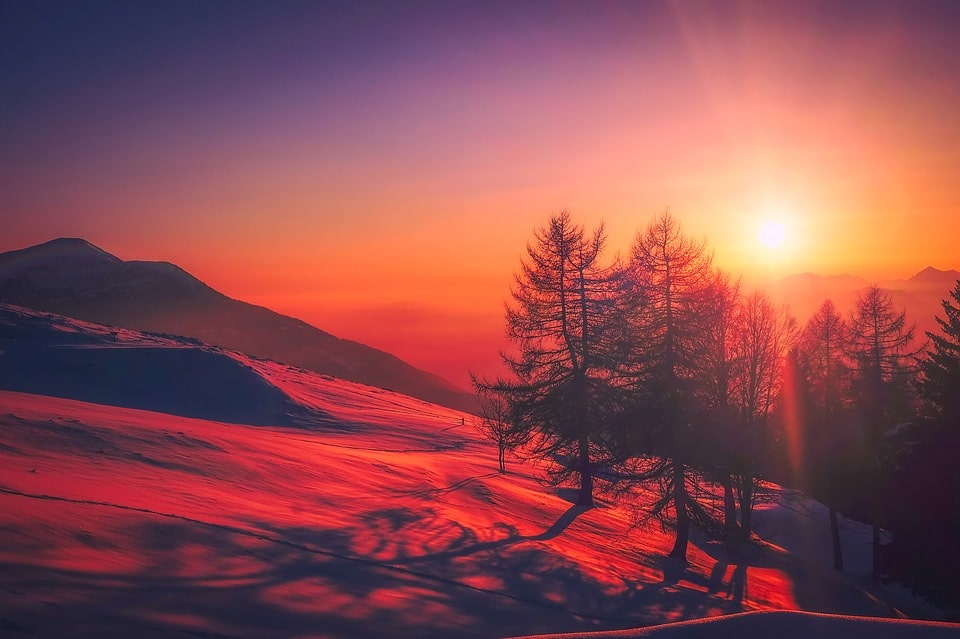 mountain during sunrise
