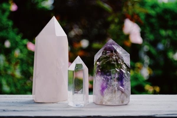 three crystals for creativity on a table
